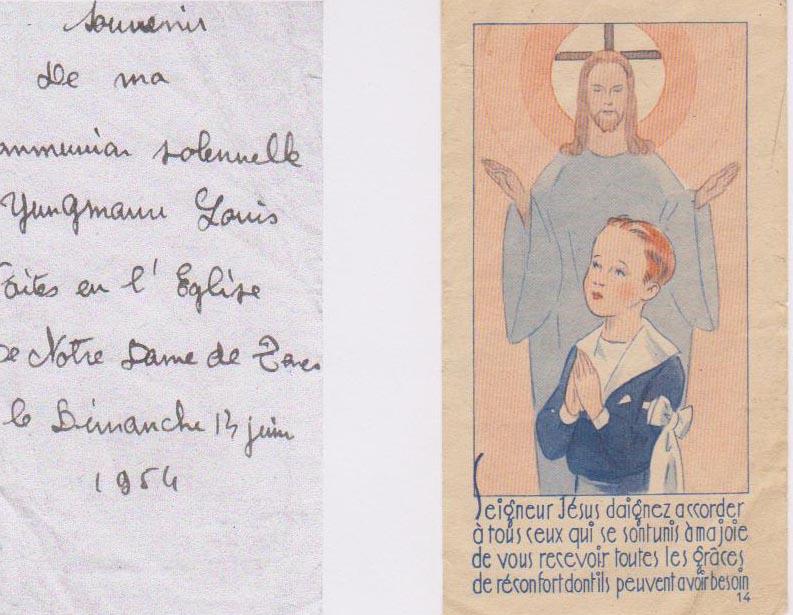 Juin 1954 Souvenir de Communion de Louis YUNGMANN