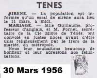 TENES - 30 mars 1956 --- Mariage de Mle GUILLAUME avec Mr PORNET