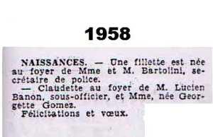 TENES - 1958 ---- Naissance de ? BARTOLINI au foyer de Fernand et Mme BARTOLINI  Naissance de Claudette BANON au foyer de Georgette GOMEZ