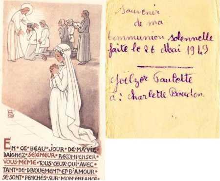 Paulette GOELZER Communion Solennelle TENES le 26 Mai 1949