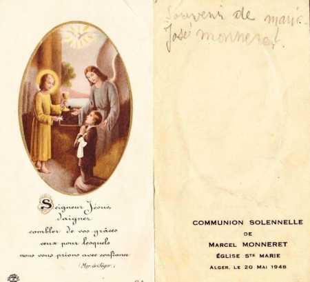 Marcel MONNERET Communion Solennelle ALGER le 20 Mai 1948