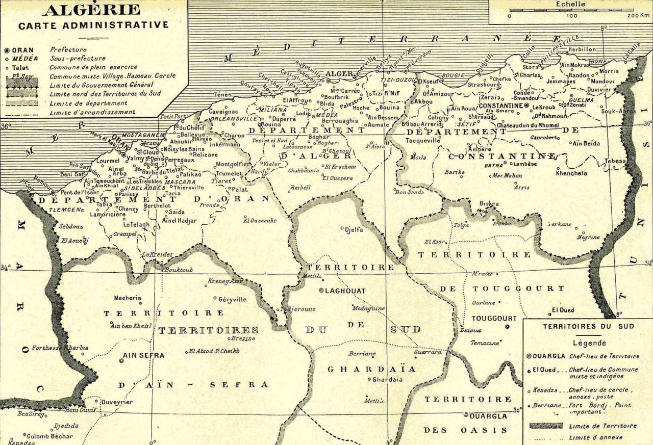 Carte Administrative de L'ALGERIE
