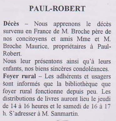 PAUL-ROBERT - Janvier 1956