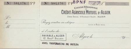 Highlight for Album: Carnet de Chèques du Crédit Agricole  Cave du GUELTA