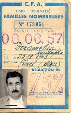 Mustapha-DERAMCHIA Carte de famille nombreuse 1957