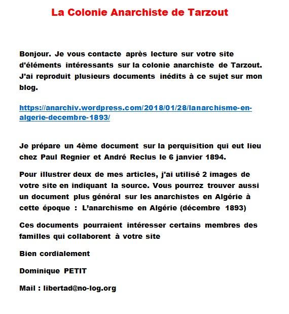 La Colonie Anarchiste de TARZOUT   Dominique PETIT Mail : libertad@no-log.org