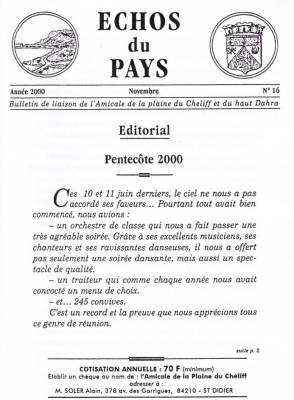 Highlight for Album: L'ECHO du PAYS  Novembre 2000