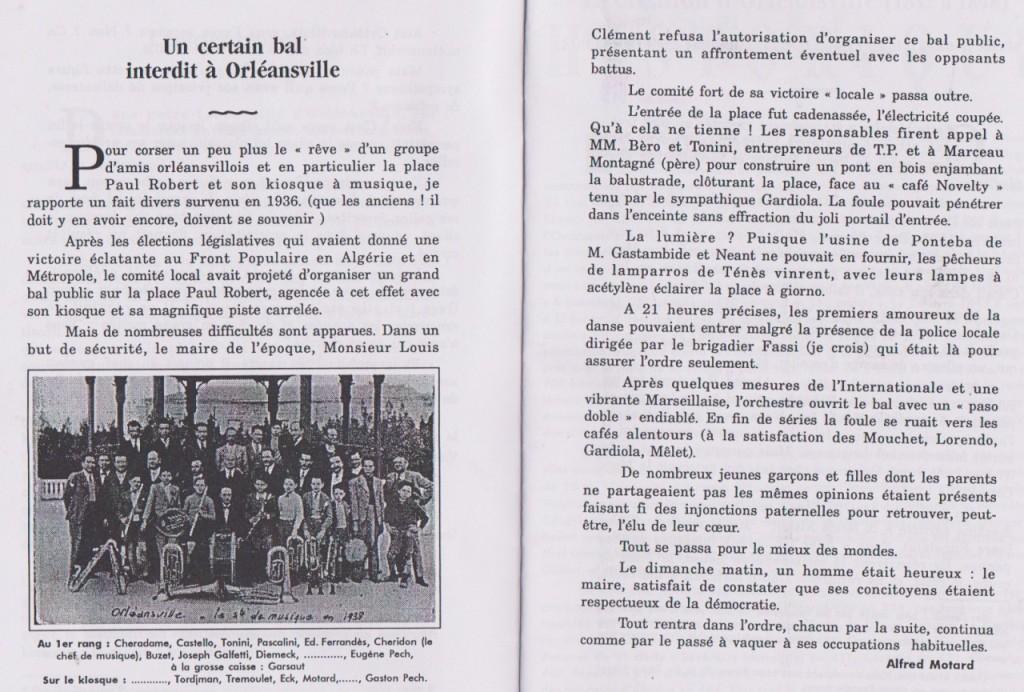 """ORLEANSVILLE - 1936 Un certain bal interdit par Alfred MOTARD ---- extrait des """"Echos du Pays"""""""