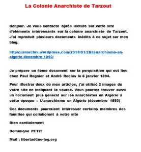 La Colonie Anarchiste de TARZOUT 