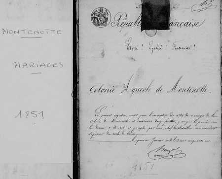 MONTENOTTE - 1851 - Mariages ----