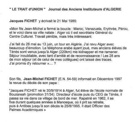 Jacques FICHET Jean-Michel FICHET