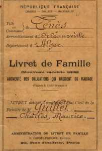 livret de famille  de Maurice GUILLET