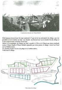 Plan du village d' EL MARSA ---- Construction du pont sur l'oued Mellah par l'entreprise BERGONZOLI