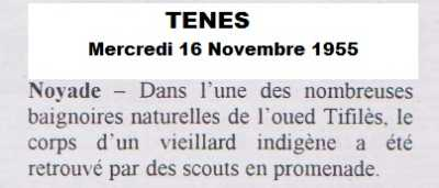 Mercredi 16 Novembre 1955 Noyade dans l'oued TIFILES