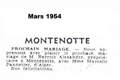 MONTENOTTE ---- Mariage d'Alexandre BARROIS et Marcelle PANNETIER