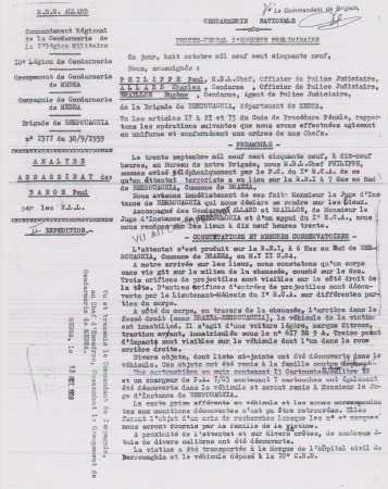 PV de la Gendarmerie de BERROUAGHIA concernant l'assassinat de Paul BANON