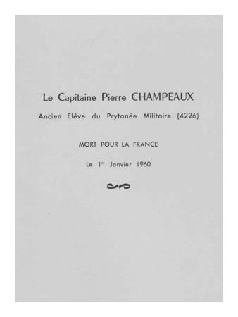 Photo-titre pour cet album: Livret à la Mémoire Du Capitaine Pierre CHAMPEAUX
