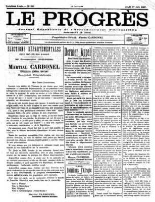 27-07-1907 - Le PROGRES Journal de l'arrondissement d'ORLEANSVILLE