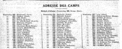 Adresse des camps en France