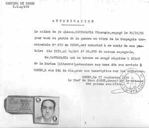 SANTAMARIA Vicente une autorisation de port d'arme peu courante