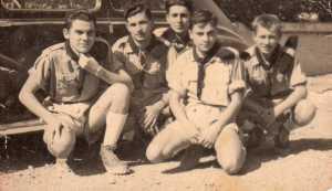 Scouts de France ---- 1- Jacques BAUZOU 2- Raymond ROMEO 3- Georges CERVERA 4- Claude BAUZOU 5- Georges GOTNICH