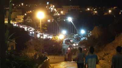 Le nouveau pont sur l'oued Allala la nuit