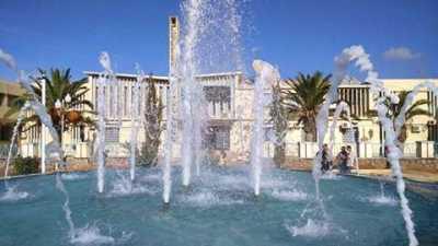 Les jets d'eau devant la mairie