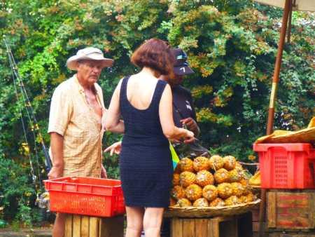 ILE MAURICE - 2012/2013 Philippe BANON et Martine RODRIGUEZ chez le marchand de bananes, annanas et litchies ....