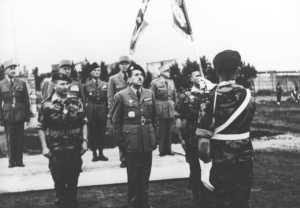 3 Mars 1958  Colonel MEYER - MASSU - Colonel COUSTAUX Passation de pouvoirs
