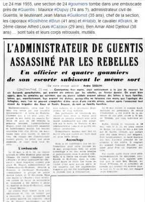 24 Mai 1955 ---- Assassinat de Mr DUPUY Administrateur de GUENTIS ainsi que des 5 goumiers  de son escorte