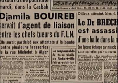 16 AVRIL 1957 ---- Arrestation d'une poseuse de bombes