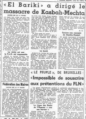 4 Juin 1957 ---- suites du massacre de MELOUZA