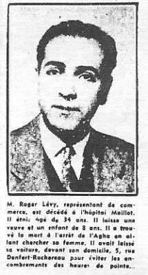 ALGER 3 Juin 1957 ---- Roger LEVY 34 ans