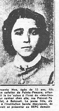 ALGER 3 Juin 1957 ---- Vincente MAS 15 ans