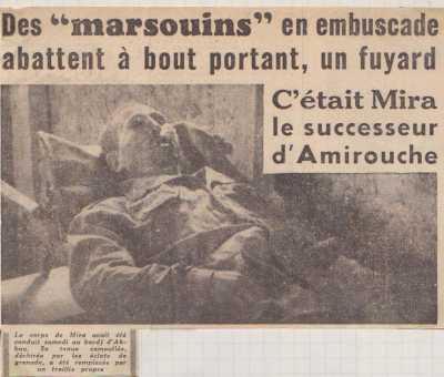 """AKBOU ---- MIRA le successeur d'AMIROUCHE abattu par les """"Marsouins"""""""