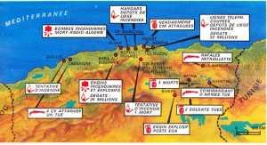 1er Novembre 1954 la carte des attentats
