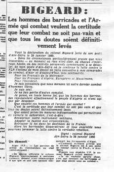 L'Opinion du Colonel BIGEARD