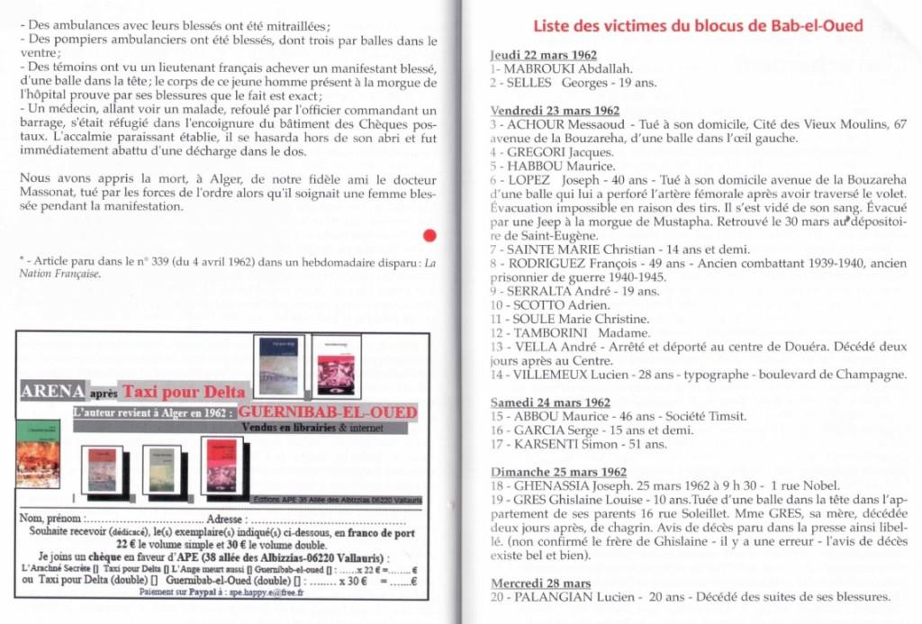 BAB-EL-OUED - Liste des victimes