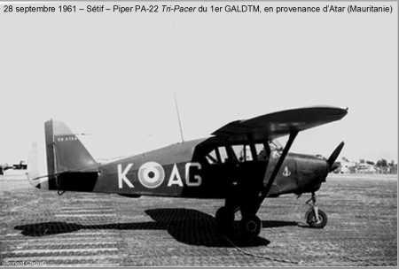 """SETIF le 28 Septembre 1961 Piper PA-22 """"TRI-PACER"""" du 1er GALDTM en provenance d'ATAR en Mauritanie"""