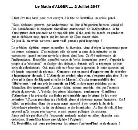 Le MATIN d'ALGER 2 JUILLET 2017