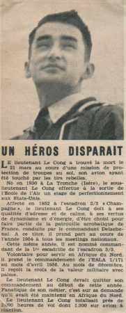 Lieutenant LE CONG Mort au combat  le 21 Mars 1957
