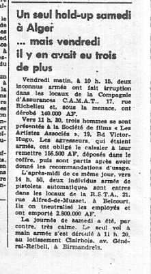 7 Avril 1962 ---- Alger 4 hold-up