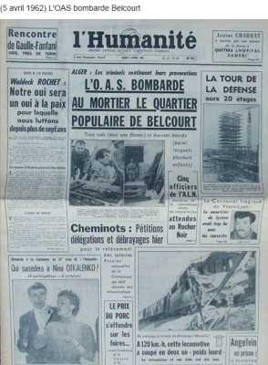 5 Avril 1962 ---- L'OAS bombarde le quartier de BELCOURT (ALGER)