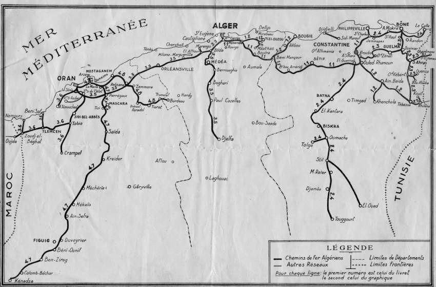 ALGERIE - Les lignes de Chemin de Fer