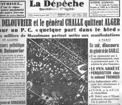 28 Janvier 1960 ---- DELOUVRIER et CHALLE  quittent ALGER