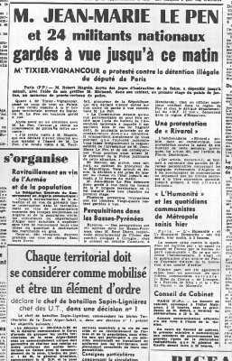 28 Janvier 1960 ---- Jean-Marie LE PEN TIXIER-VIGNACOURT