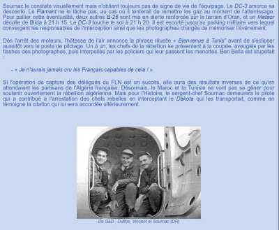 Arraisonnement de l'avion de BEN BELLA Les 3 pilotes de l'avion