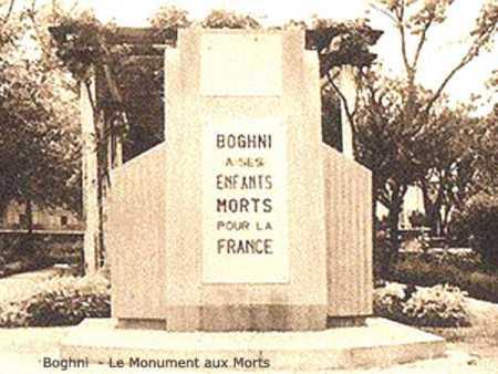 BOGHNI - Le Monuments aux Morts
