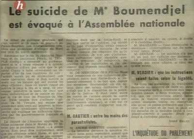 Le suicide de BOUMENDJEL