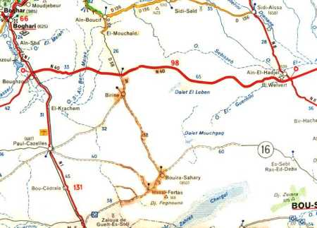 Carte des environs de BOU-SAADA